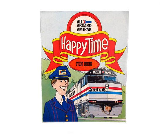 All Aboard Amtrak HAPPY TIME Fun Book Train by CollectionSelection, SOLD
