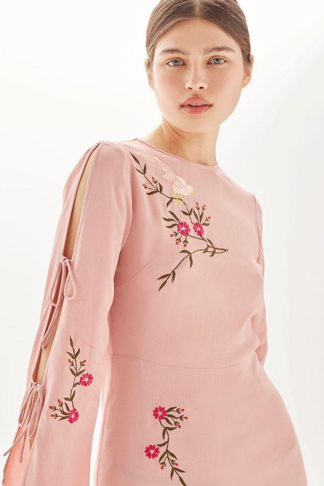 Embroidered Midi Dress. UK 14 / US 10. UK 16 / US 12. UK 10 / US 6. UK 12 / US 8. Long Tie Detail Sleeves. UK 6/ US 2. UK 8 / US 4. | eBay!