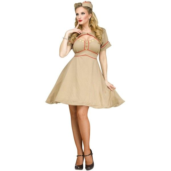 Army Gal Adult Costume ($20) ❤ liked on Polyvore featuring costumes, halloween costumes, adult halloween costumes, adult army costume, army costume, army halloween costumes and adult costume