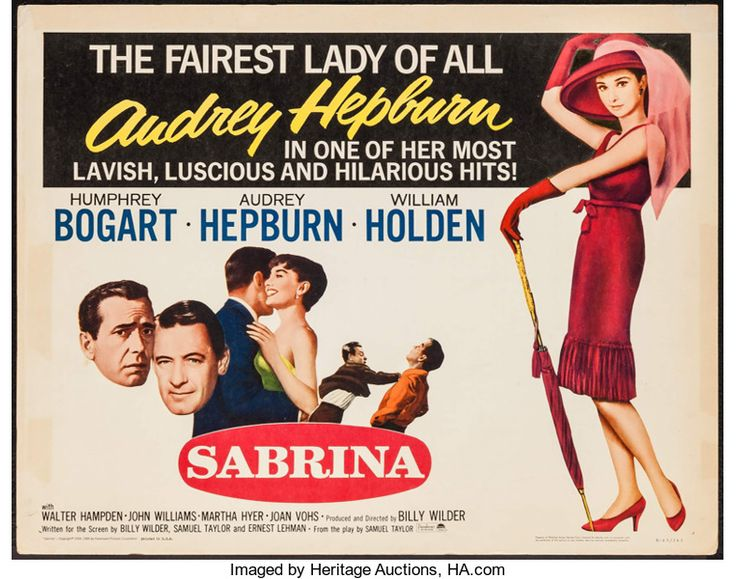 "Movie Posters:Romance, Sabrina (Paramount, R-1965). Half Sheet (22"" X 28""). Romance.. ..."