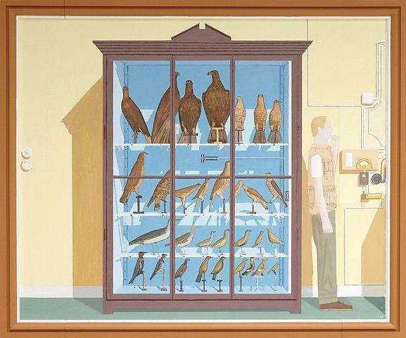 Leonard Rickhard <em>Stort fugleskap mot gul vegg</em><br />olje på lerret, 219x263 cm