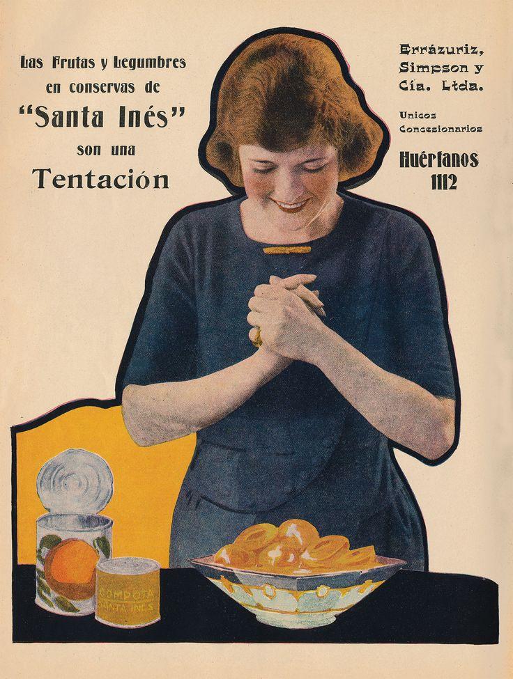 Aviso de Conservas Santa Inés  Año: 1922  Autor: Imprenta Editorial Zig-Zag  Lugar: Santiago  Archivo: Revista Chile Magazine, Biblioteca del Congreso Nacional de Chile