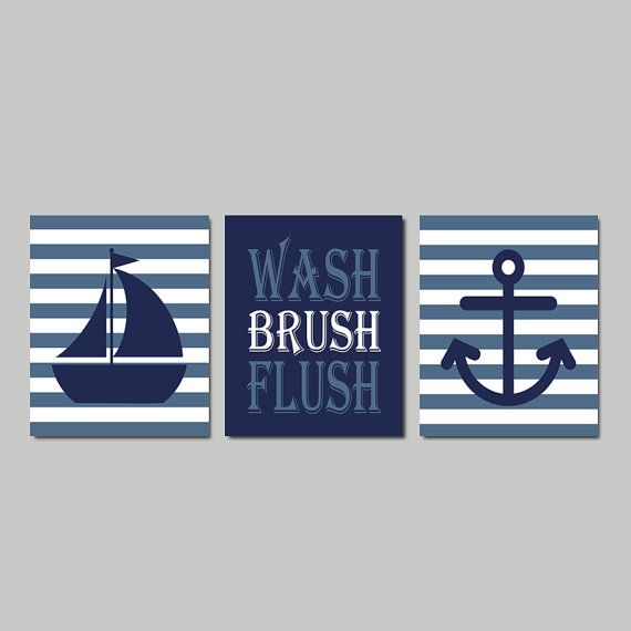Kids Nautical Bathroom Decor Wash Brush Flush by LovelyFaceDesigns