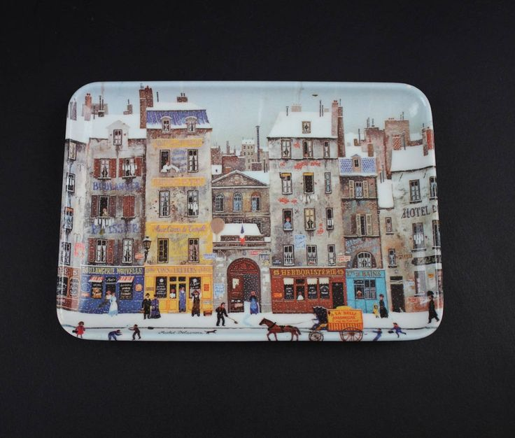 Vintage Small Plastic Serving Tray - Italian Decorative Tray - Village Scene Art Tray - Melamine RD Import Inc Serving Tray by Suite22 on Etsy