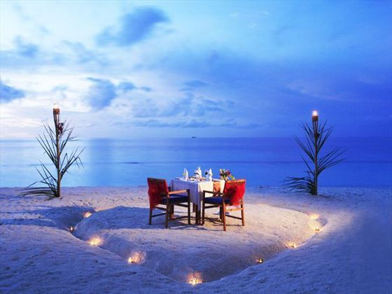 Private dining on the beach at the Centara Grand Island Resort & Spa