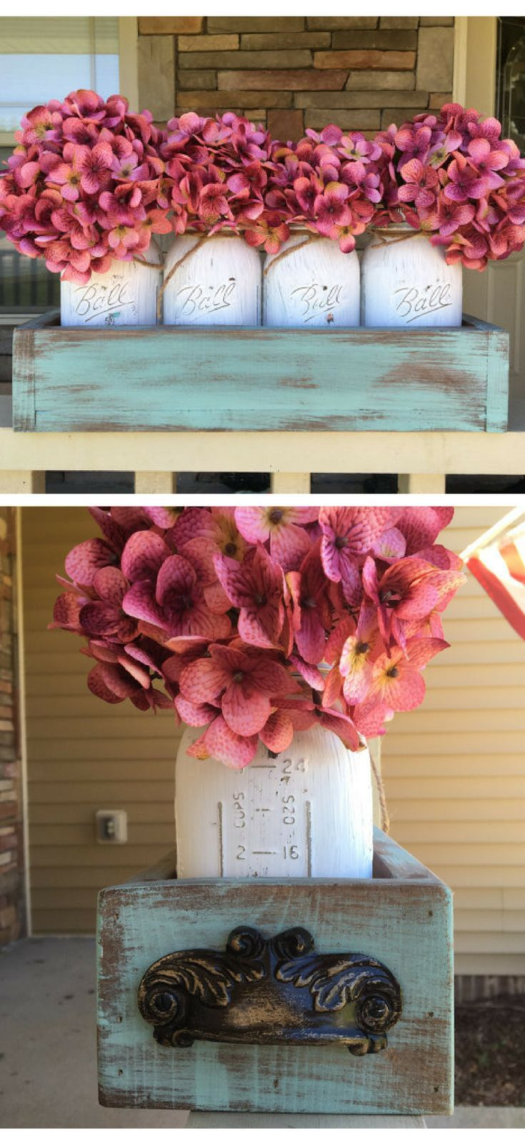 Mason Jar Centerpiece In Teal Rustic Planter Box! Teal Planter Box, White  Mason Jar, Pink Flower Set. Summer Time Centerpiece, Rustic Living, Country  Living ...