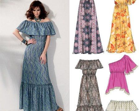 Off the Shoulder Maxi Dress Pattern McCalls 6558 by StitchySpot