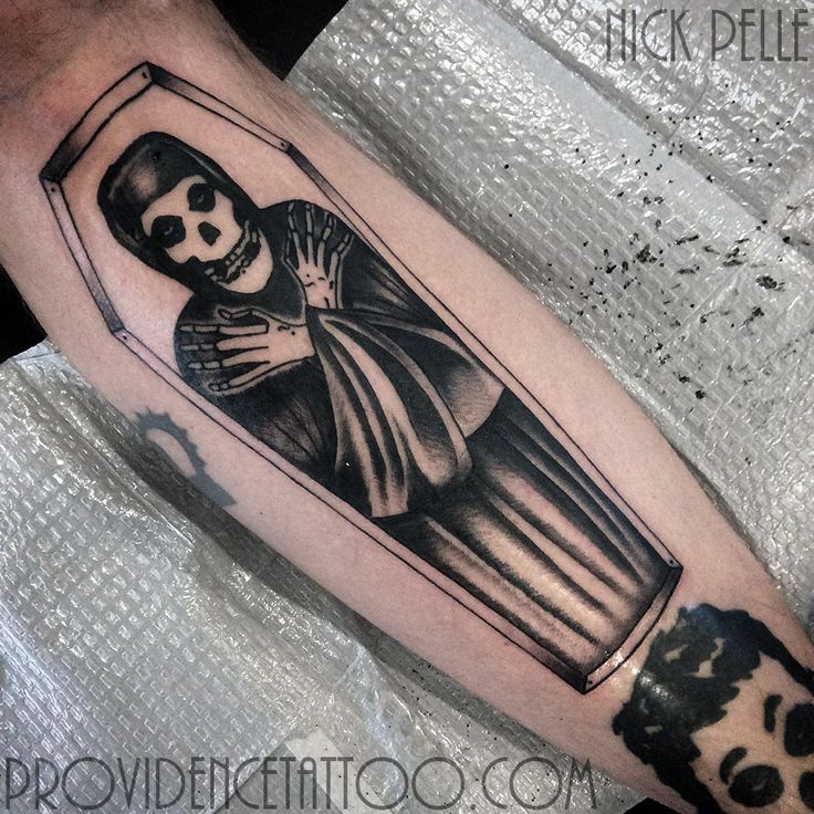 by nick pelle at providence tattoo  #nickpelle #providencetattoo #misfits #tattoo #misfitstattoo #blackwork #blackandgrey #coffin