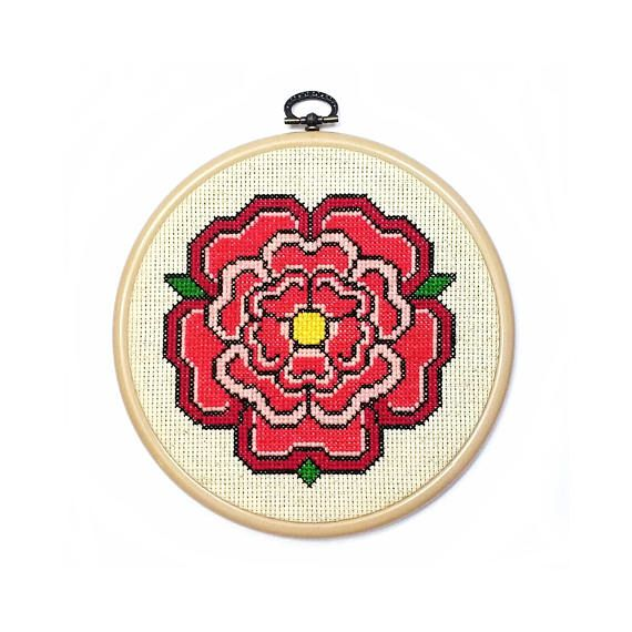Medieval Rose Hoop Art Tudor Era Pattern Historic Cross Stitch Heraldic Rose Red Flower Beige Background Wall Hanging Decor Romantic Gift