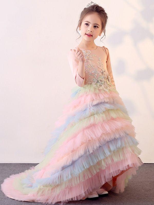 abbf9ffe064 Rainbow Color Hem Flowers Round Collar Long Sleeves Long Dress ...