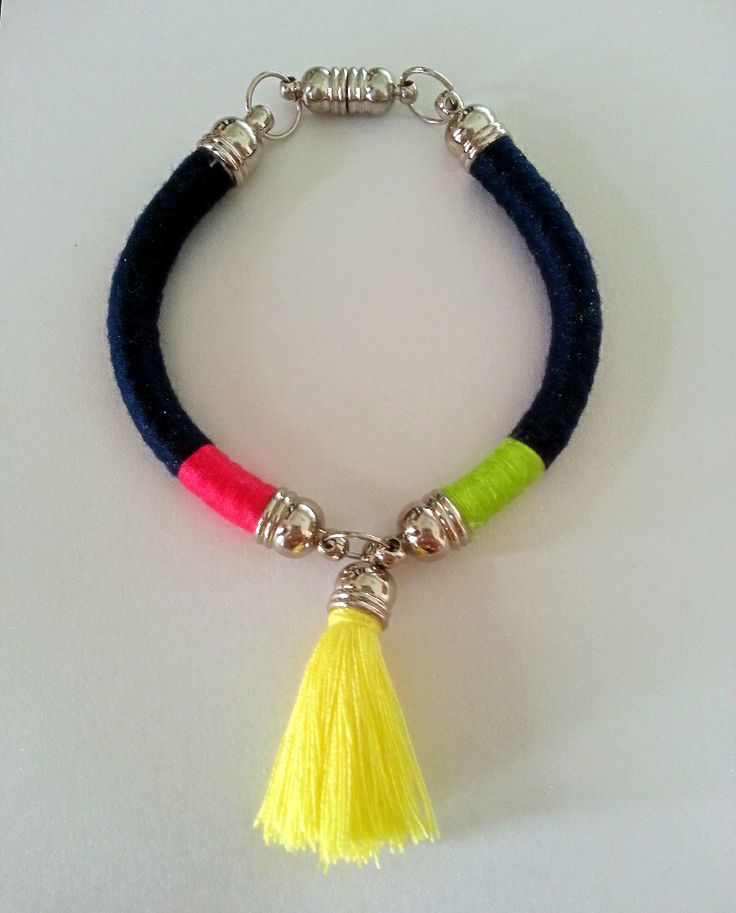 Navy Blue, Fuchsia and Green Bracelet with Yellow Tassel