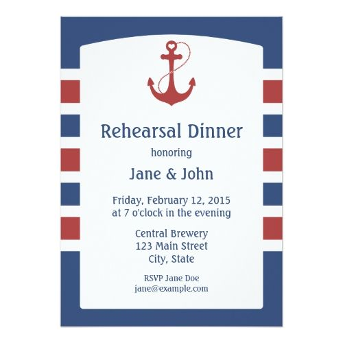 Red Anchor Nautical Rehearsal Dinner Invitations