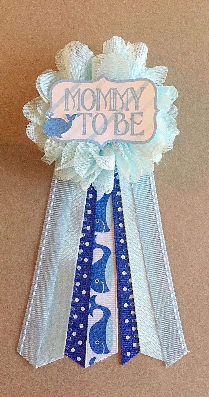 Blue Whale Baby Shower Mommy-to-be Flower Ribbon Pin Corsage Mommy Mom New Mom under the sea baby shower its a boy by afalasca on Etsy https://www.etsy.com/listing/249549423/blue-whale-baby-shower-mommy-to-be