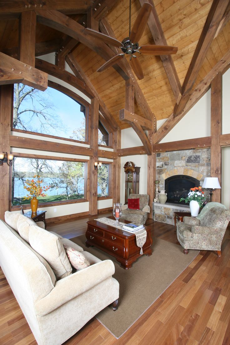 17 best images about timber frame interiors on pinterest for Timber frame great room