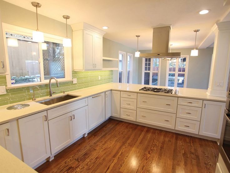 Remodeled Seattle Kitchen After Opening Wall Has White Shaker Cabinets Long Vintage Kitchen