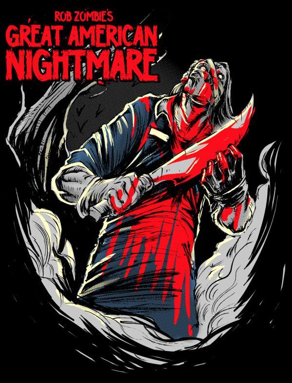 Rob Zombie's Great American Nightmare Tees by Dayne Henry Jr, via Behance