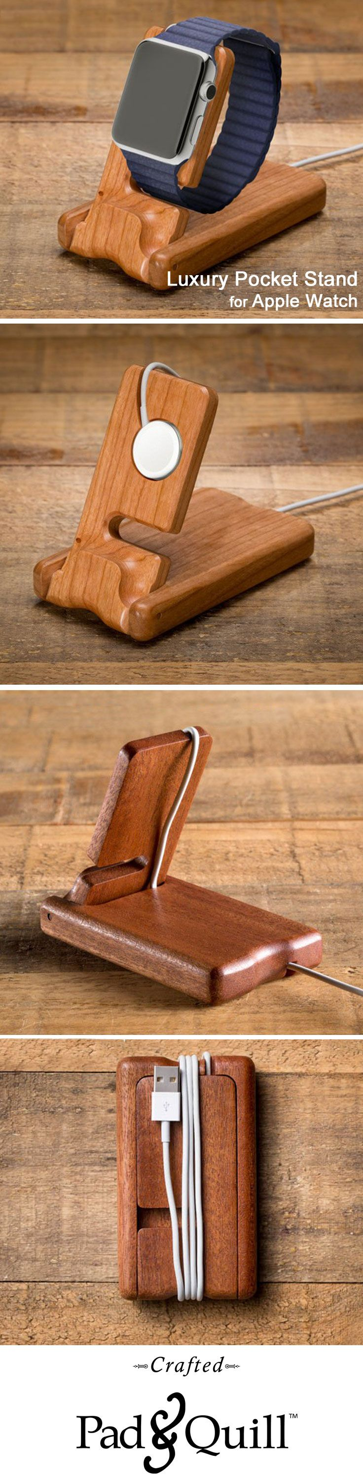 Meet the Pocket Stand for the Apple Watch. Hewn from a single piece of American Cherry or African Mahogany. Equipped with an inlet that cradles your charging magnet, the Pocket Stand will be a beautiful addition to your bedside table. Fold it shut with magnet in tow and it becomes a slender case that slips streamline into a pocket or bag.   #applewatch www.PadandQuill.com