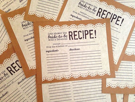 Shabby Chic Bridal Shower Recipe Card with Lace Edge by OohLaLlew, $1.00