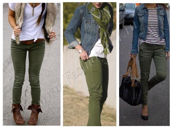Белая рубашка, джинсовка или жилет + брюки цвета хаки