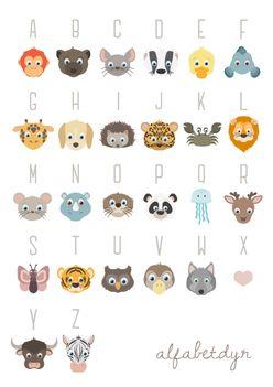 ABC Poster A3 mit Tieren für Kinder Plakat