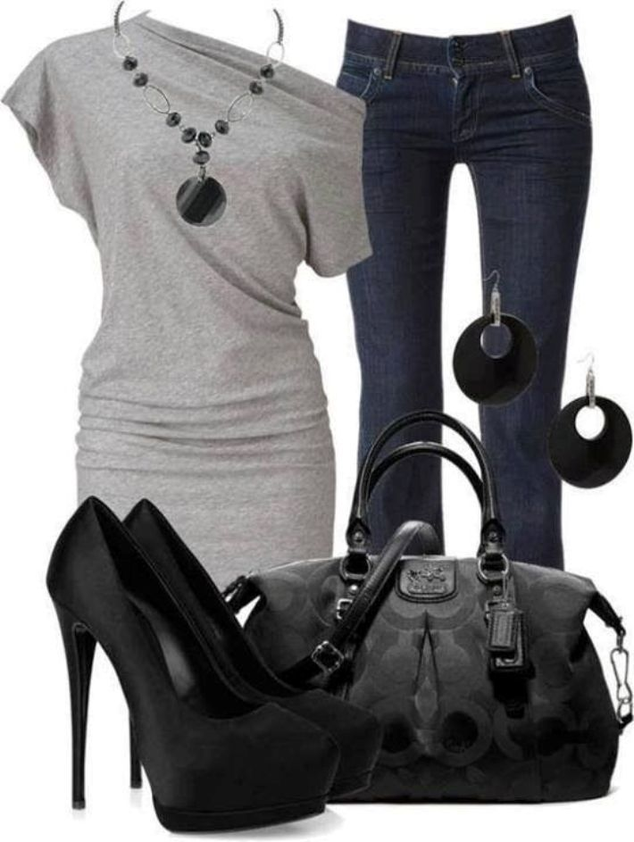 I don't have an asymmetrical top but this one is gorgeous. Don't think I could hack those shoes, though.