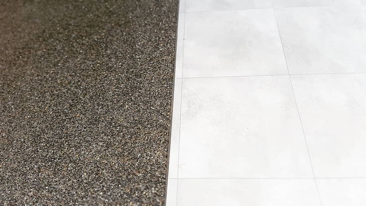Seamless transition between our  exposed driveway & tiled patio in McCrae. #landscapedesign #landscaper #qualified #quality #outdoor #living #concrete #tiles #patio #mccrae #morningtonpeninsula