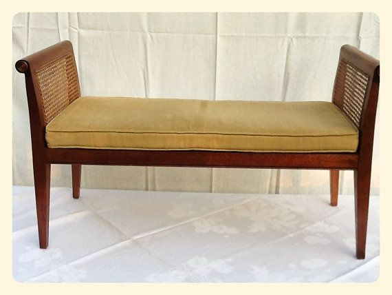 Vintage Caning Rattan Bench Walnut Wicker By Northerngate Renovation