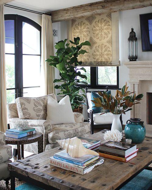 window treatments, beams, coffee table