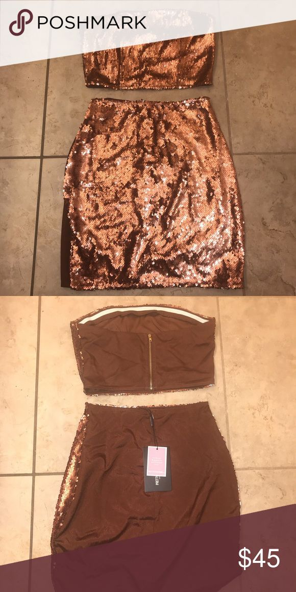 Pretty little thing two piece Sequin bronze outfit, very cute for a night out! New with tags. Size UK 8/US 4  #houseofcb #asos #prettylittlething #ohpolly #missguided #fashionnova Pretty Little Thing Dresses Mini