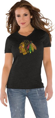 Chicago Blackhawks Black Women's Primary Logo Tri Blend V Neck T-Shirt- by Alyssa Milano