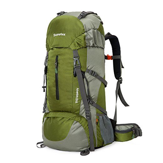 Suretex 50L-60L Waterproof Outdoor Sport Hiking Trekking Camping Travel Backpack Pack Mountaineering Climbing Knapsack with Rain Cover (Army green, 50L)