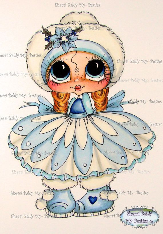 INSTANT DOWNLOAD 5  Digital Digi Stamps Big Eye Big by SherriBaldy, $4.00