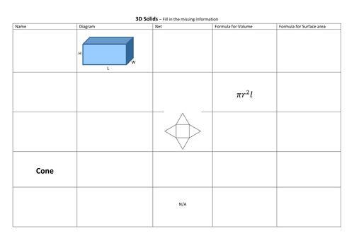 3D Solids Revision Worksheet