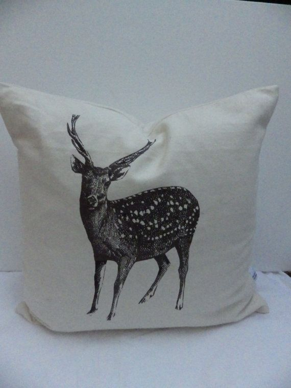 Cream Reindeer Large Christmas Cushion Cover by madeincrawley