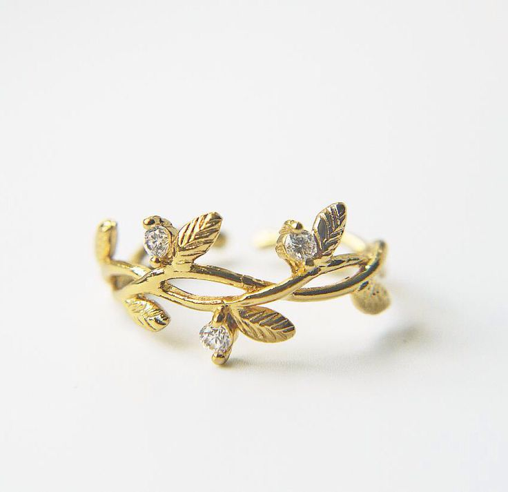 Gold branch leaves ring