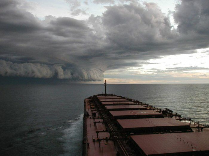 AWESOME! Hurricane as seen from freighter at sea