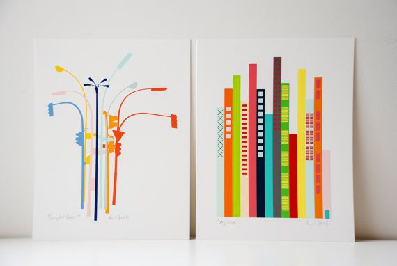 Set of 2 City Set Art Prints. Lamp posts and by avrilloreti