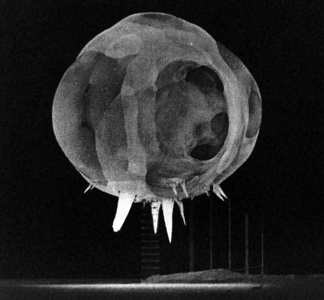 Nuclear explosion photographed by rapatronic camera less than 1 millisecond after detonation. From the Tumbler-Snapper test series in Nevada, 1952. The fireball is about 20 meters in diameter in this shot. The spikes at the bottom of the fireball are known as the rope trick effect.