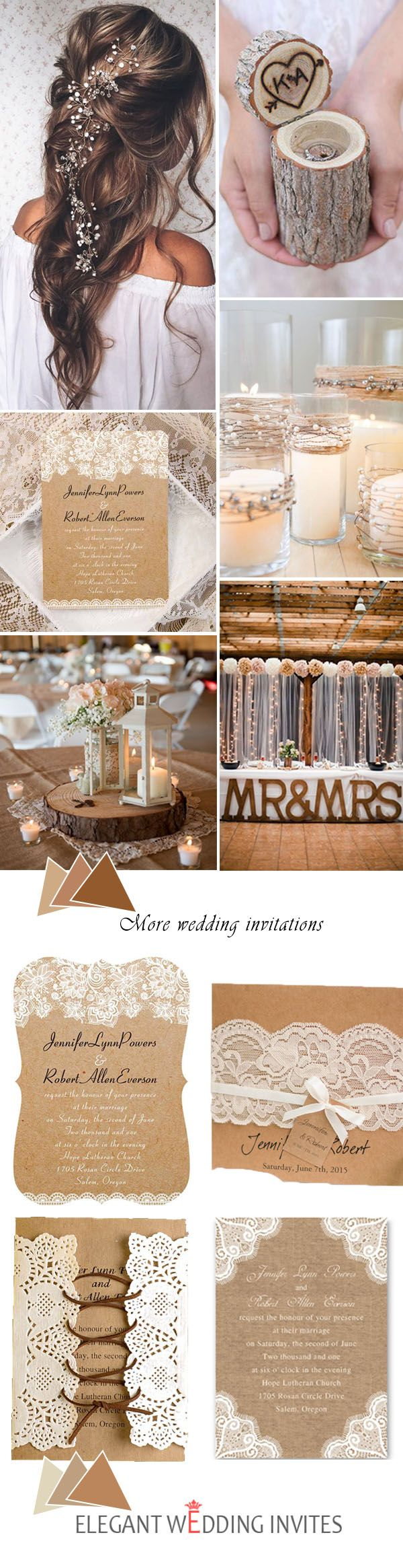 Top 3 Rustic Wedding Ideas and Matched Wedding Invitations