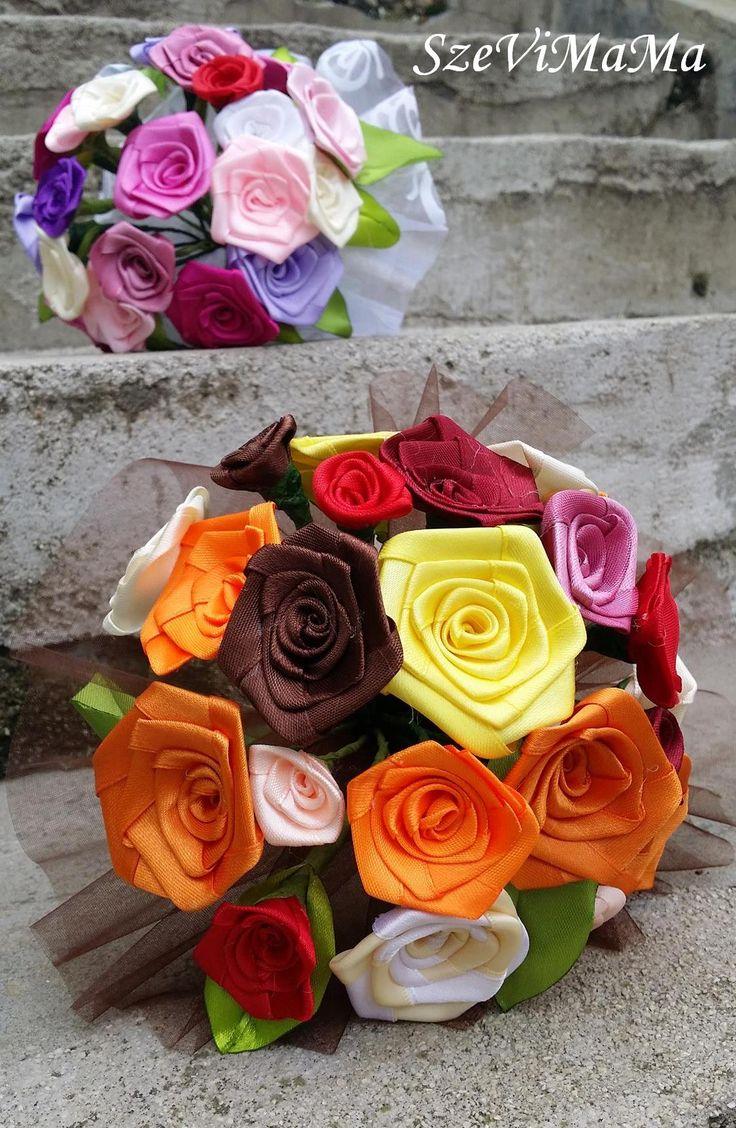 szatén szalagból készített rózsa csokrok