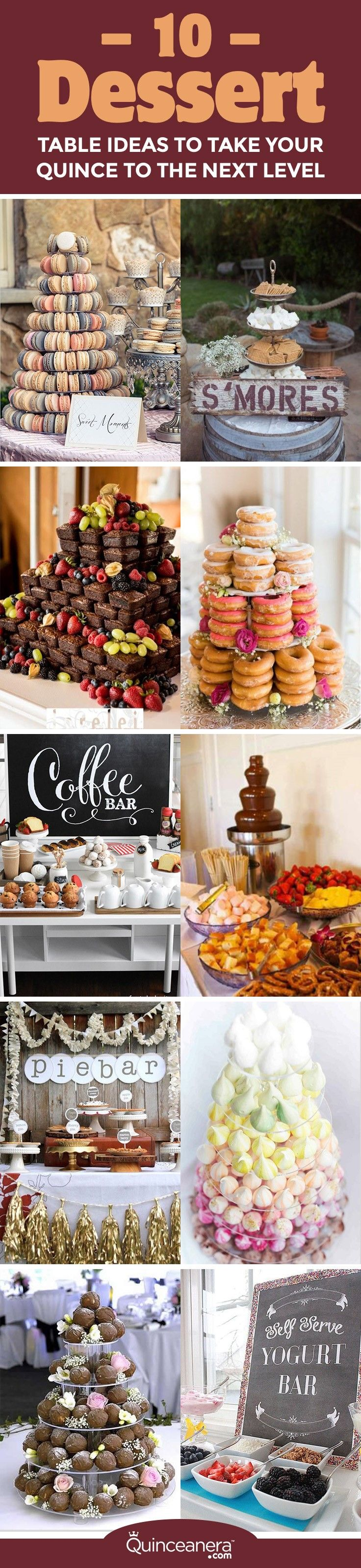 Take a look at the following tempting options for your dessert table that way better than a traditional cake. You might even consider substituting your quinceanera cake for one of these one-of-a-kind desserts: - See more at: http://www.quinceanera.com/food/10-dessert-table-ideas-take-quince-next-level/?utm_source=pinterest&utm_medium=social&utm_campaign=food-10-dessert-table-ideas-take-quince-next-level#sthash.JnmhDSTU.dpuf