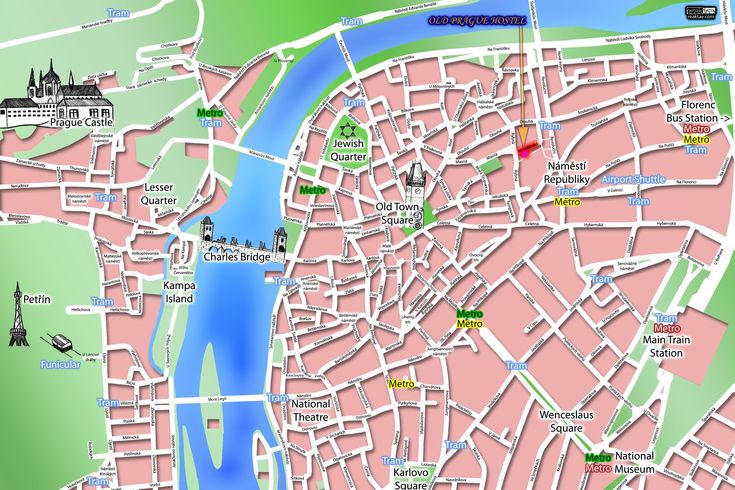 Tourist map of the historical center of Prague, Czech Republic. Description from mappery.com. I searched for this on bing.com/images