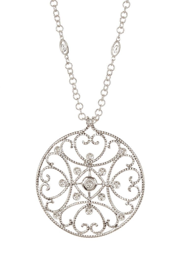 26 best filigree ring settings images on pinterest filigree ring cignature 18k white gold diamond filigree circle pendant necklace aloadofball Choice Image