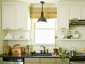 old kitchen reno idea move up shorter cabinets to meet  an 8 foot ceiling... add open shelf below