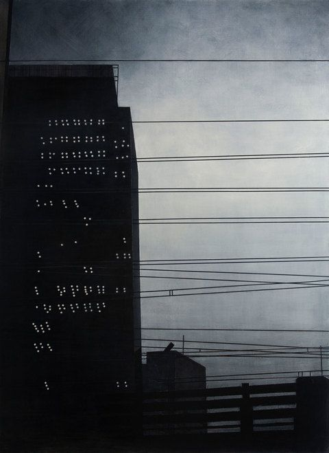 """FRANK WEBSTER Night and the City, acrylic on canvas, Wires and Office Tower (Storm Sky), 2013, 60"""" x 44"""""""