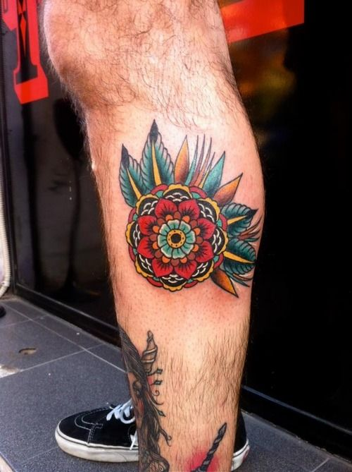 Rachele Arpini // American Traditional style calf tattoo // Mandala flower design // great color