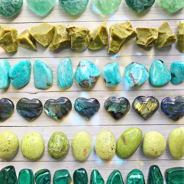 Featured Crystals From Top To Bottom Fluorite Green Opal