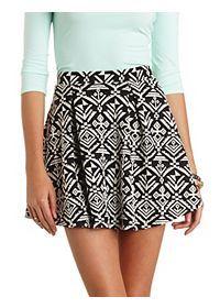 Tribal Print Pleated Skater Skirt