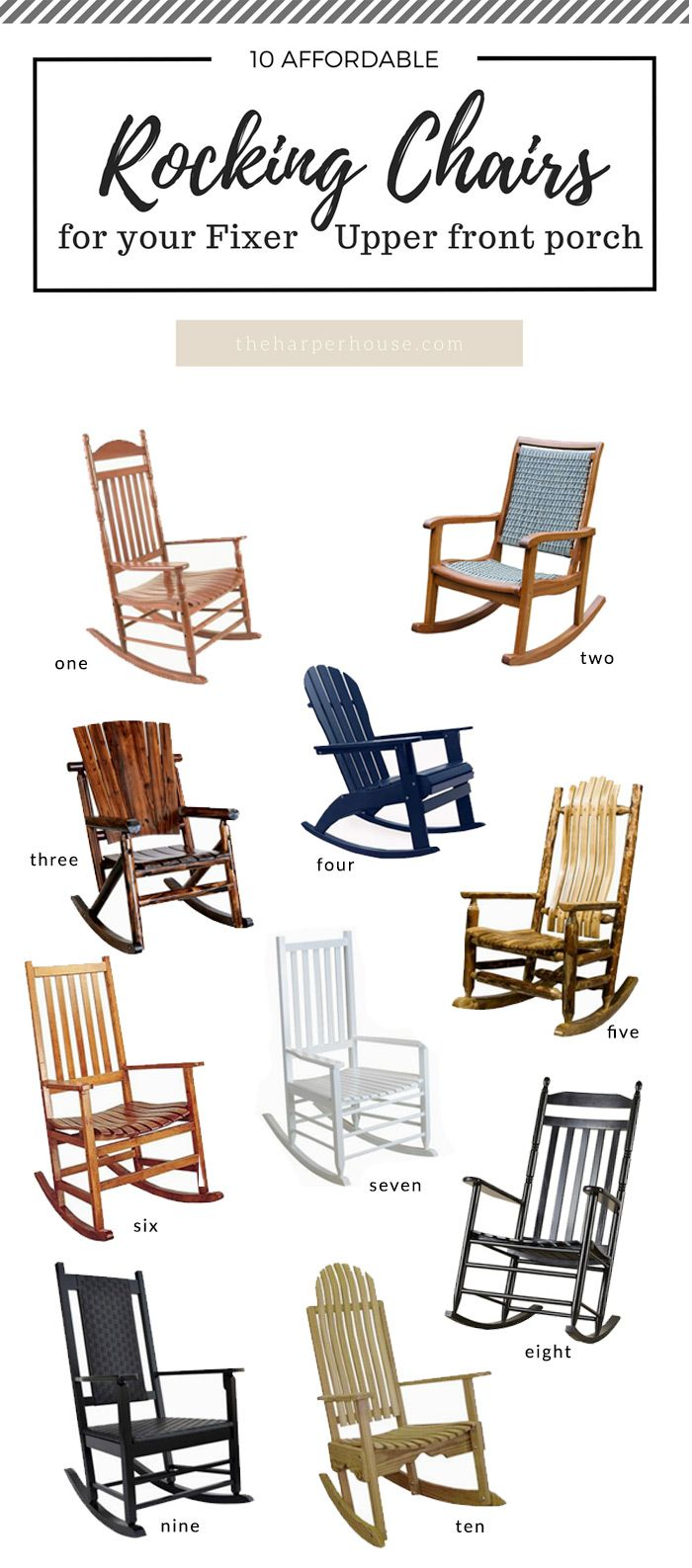 Black front porch chairs - 10 Awesome Porch Rocking Chairs