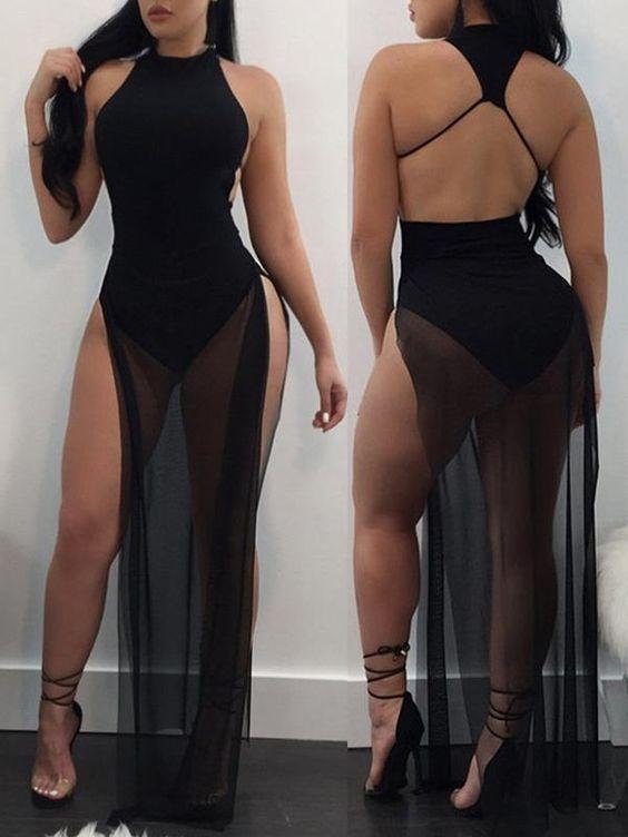 102e51b9685a9 Sexy Split See-through Culottes Maxi Dress in 2019 | Night fitxxx ...